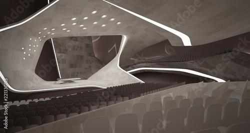 Konceptualny abstrakcjonistyczny projekt wnętrze sala koncertowa i fortepianowy w nowożytnym stylu. 3D ilustracja i rendering.