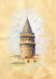 Galata Tower in İstambul.Watercolor illustration on Vintage paper. - 221339112