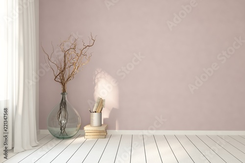 Poster Mock up of white empty room with vase. Scandinavian interior design. 3D illustration