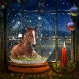 Foal with a Blaze in Snow Globe - 221351961