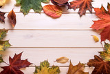 autumn leaf frame for words and inscriptions, copy space - 221352390