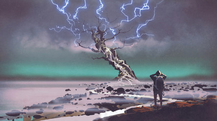 hiker looking at lightning above the giant tree, digital art style, illustration painting © grandfailure