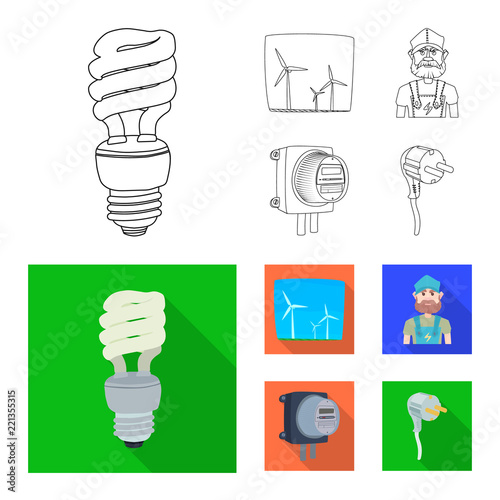 Vector Design Of Electricity And Electric Logo Set Of Electricity