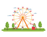 ferris wheel mechanical and children with shop - 221367300