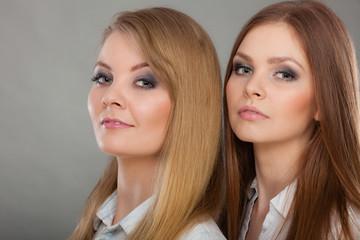 Two beautiful women, blonde and brunette posing