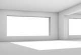 Empty white room with wide window, 3 d - 221369553