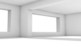3d interior. White room with wide windows - 221369555