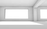 Empty 3d white room with wide windows - 221369568