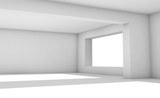 Empty white room with wide windows, 3d interior - 221369576