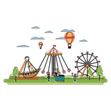 doodle funny carnival mechanical ride games - 221370148