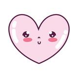 kawaii cute heart facial expression - 221372115