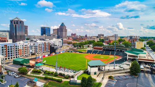 Aerial View of Downtown Greensboro North Carolina NC Skyline - 221372930
