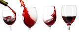 Pouring wine in glass on white background, - 221377300