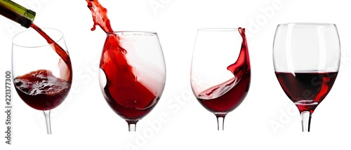 Fototapeta Pouring wine in glass on white background,