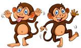 Two cute cartoon monkeys - 221377724