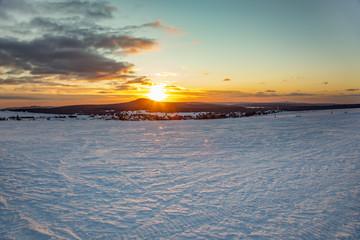 Snow landscape with sunset © Edler von Rabenstein