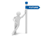 3d man and roadsign with word future - 221395362