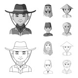 Arab, turks, vietnamese, middle asia man. Human race set collection icons in outline,monochrome style vector symbol stock illustration web. - 221396943