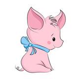 Cute little pig. Cartoon vector character - 221398306