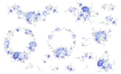 Set of blue roses in shabby chic style  © Maria