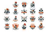 Medieval logo design set, middle ages vintage emblem vector Illustrations - 221400783