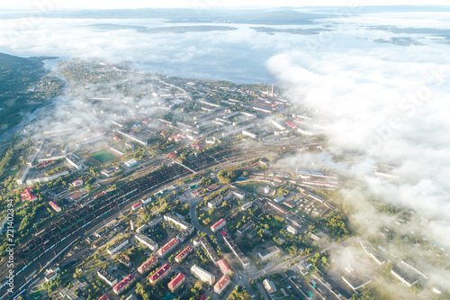 Aerial Townscape of Kandalaksha Town located in Kola Peninsula in Nothern Russia - 221402394