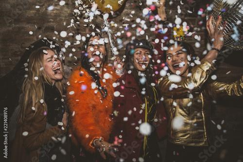 Leinwandbild Motiv Group of girls celebrating and having fun the club. Concept about women night out
