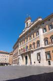 view of Palazzo Montecitorio on Piazza Montecitorio in Rome, italy - 221415951