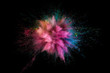 Leinwanddruck Bild - Colored powder explosion. Abstract closeup dust on backdrop. Colorful explode. Paint holi