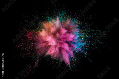 Leinwanddruck Bild Colored powder explosion. Abstract closeup dust on backdrop. Colorful explode. Paint holi