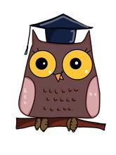 Cute Owl Characters  Cartoon And Cap Sticker
