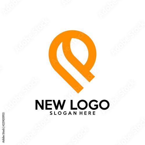 Initial R logo design vector, R P logo template