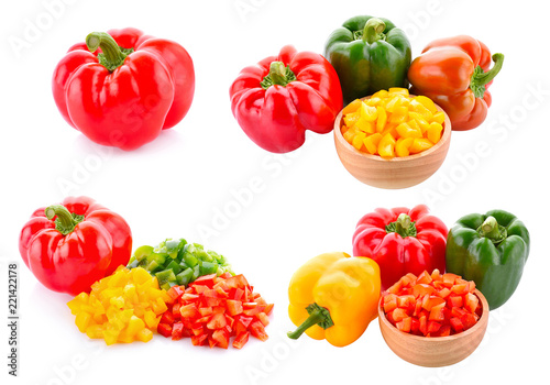 Set of pepper isolated on white background - 221422178
