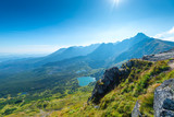 Scenic view from the mountain to the horizon and the valley of Zakopane, Poland
