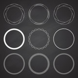 Set of 9 circle summer frames, borders