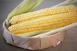 The cob of ripe cut corn sugar lies in a wicker basket. Yellow corn kernels.