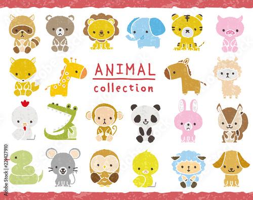Wall mural 動物のセット 手描き風