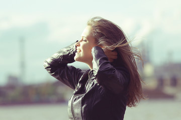 Wind hair hairstyle hair styling girl adult spring © kichigin19