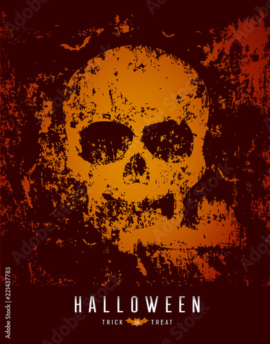 Happy Halloween skull and bat on rough surface background, vector illustration
