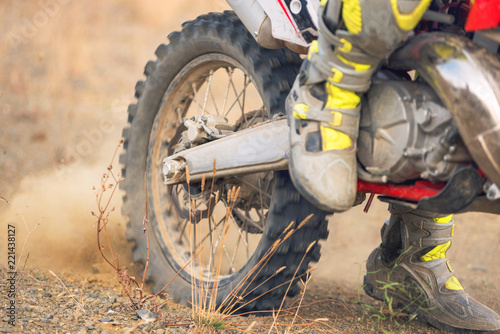 Close up view of motocross bike