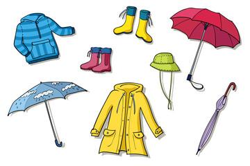 Rainy weather clothes set of illustrations