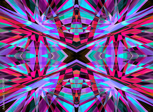 Purple and red shattered kaleidoscope pattern - 221439954
