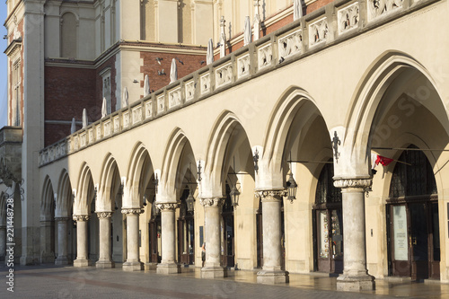Cloth Hall archs on Main Market Square in Krakow, Poland