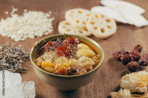 Poster Assorted Vietnamese Dessert : Lotus foots , White jelly fungus, seaweed and jujube in syrup