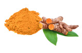 Turmeric roots and turmeric powder on white background - 221452149