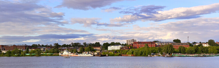 Panoramic view of the left bank of the Kostroma River, Kostroma, Russia. © fotych
