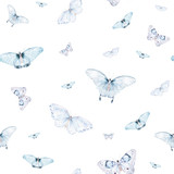 Watercolor seamless pattern. Vintage butterfly. Hand drawn illustration