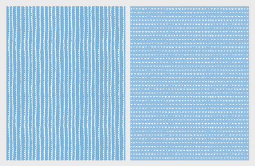 Cute Hand Drawn Abstract Vector Patterns. White Lines and Triangles. Blue Background. Irregular Simple Design.