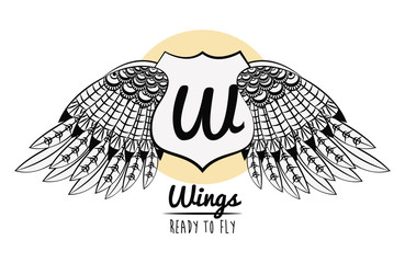 Wings ready to fly emblem