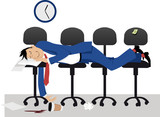 Man sleeping on chair in the office in the middle of work day, EPS 8 vector illustration - 221471330